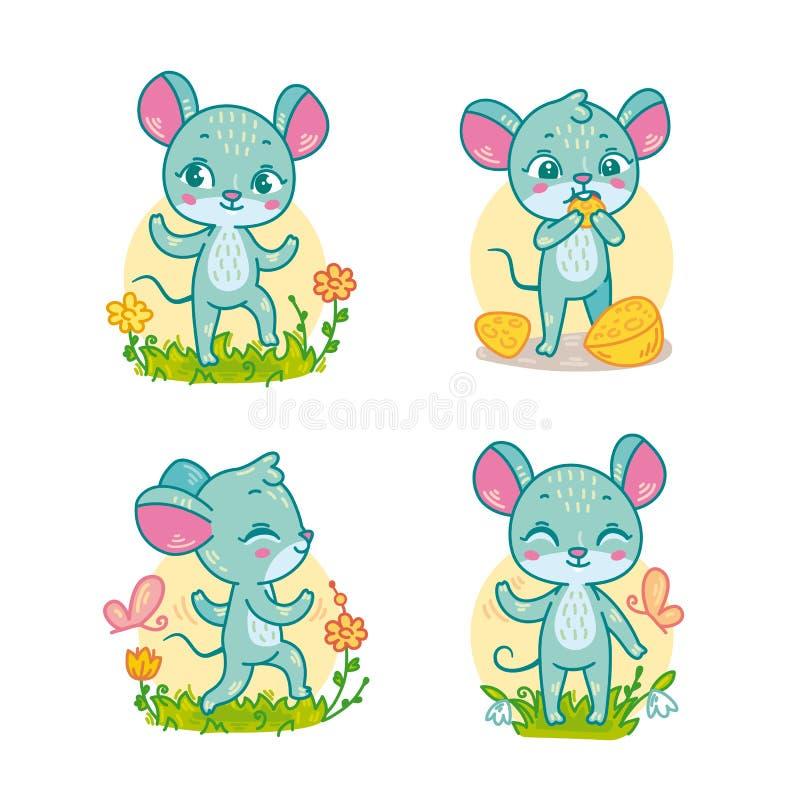 Reeks van grappig beeldverhaal mouses voor kinderen onderwijsspelen stock illustratie