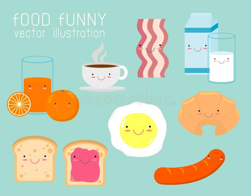 Reeks van grappig ontbijt, karakters van het voedsel de grappige beeldverhaal op achtergrond, Vectorillustratie stock illustratie