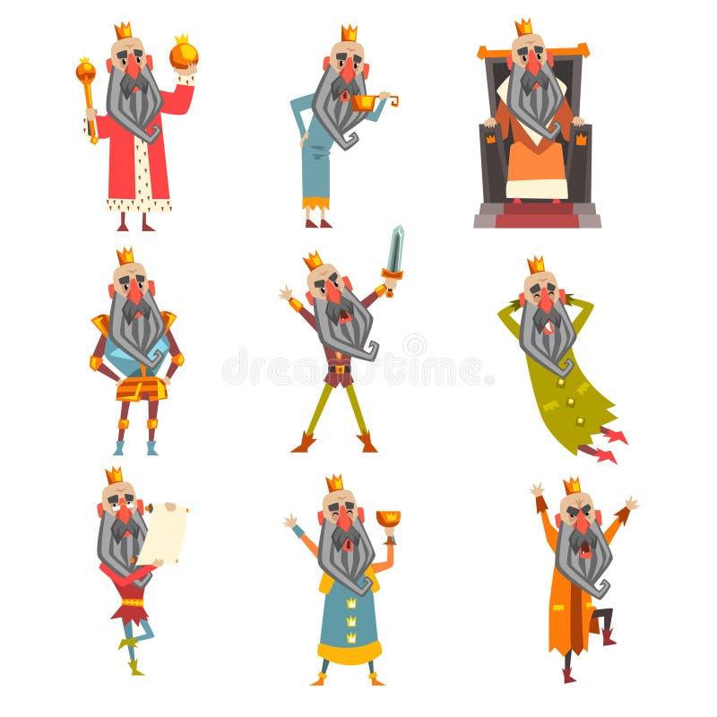 Reeks van grappige koning in diverse kleren Beeldverhaalkarakter van de oude gebaarde mens die gouden kroon dragen Heerser van ko stock illustratie