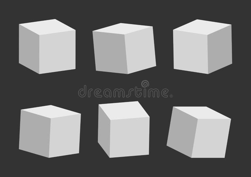 Reeks van grijze kubussen, 3D model, verschillende perspectief en hoek Vector illustratie vector illustratie