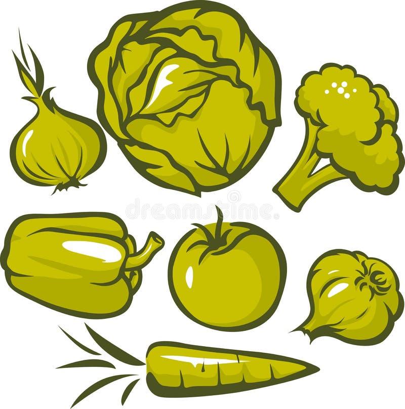 Reeks van groene groente stock illustratie