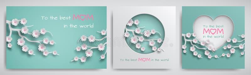 Reeks van groetkaart voor moeder` s dag met gelukwensentekst Cuteddocument cirkel en hart verfraaide tak van kersenbloemen stock illustratie