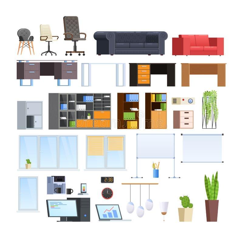Reeks van grote inzameling van bureau en huis modern meubilair stock illustratie