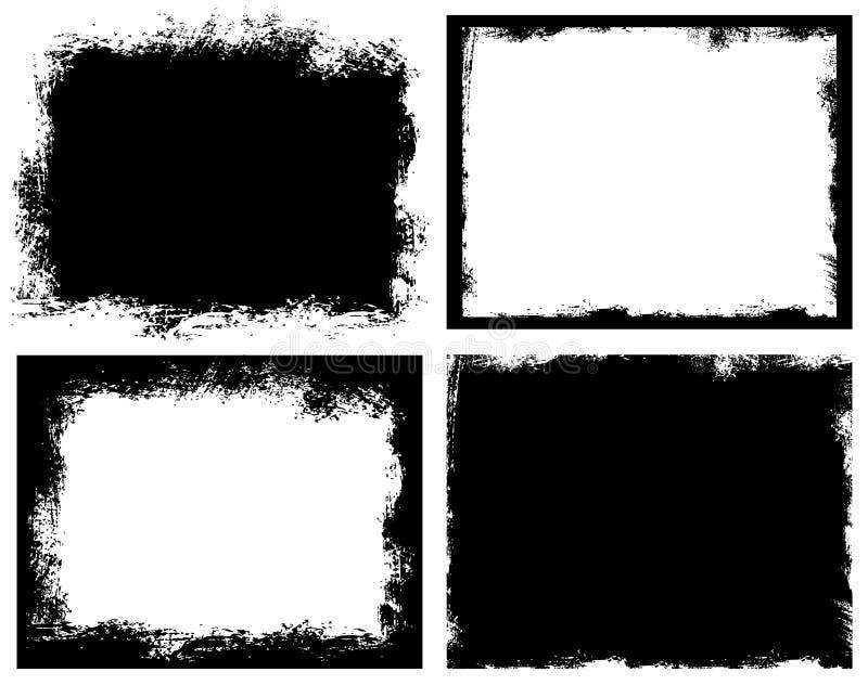 Reeks van grungeachtergrond Gebroken vuile ruw vector illustratie