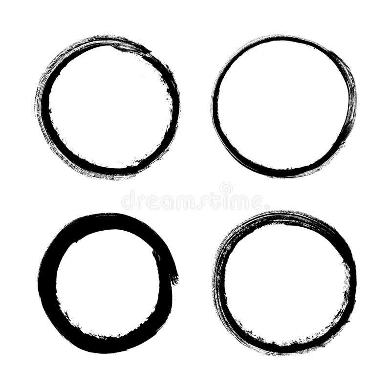 Reeks van grungecirkel vector illustratie