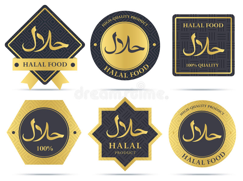 Reeks van halal van voedingsmiddelenetiketten en kentekens ontwerp vector illustratie