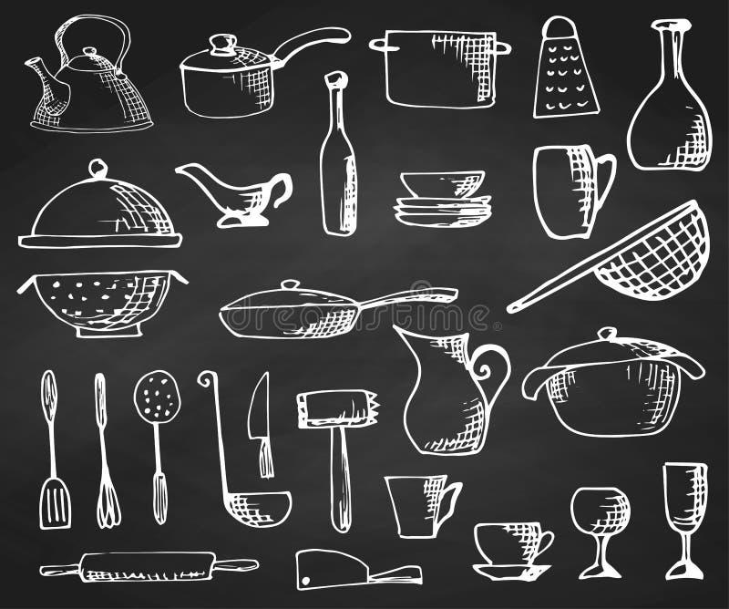 Reeks van hand die cookware op het bord wordt getrokken Vector illustratie vector illustratie