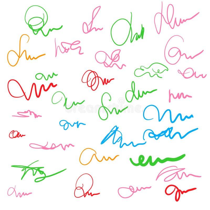 Reeks van hand getrokken gekrabbelschets Uit de vrije hand tekening Zwart-wit en kleuren abstract gekrabbel Vector illustratie royalty-vrije illustratie