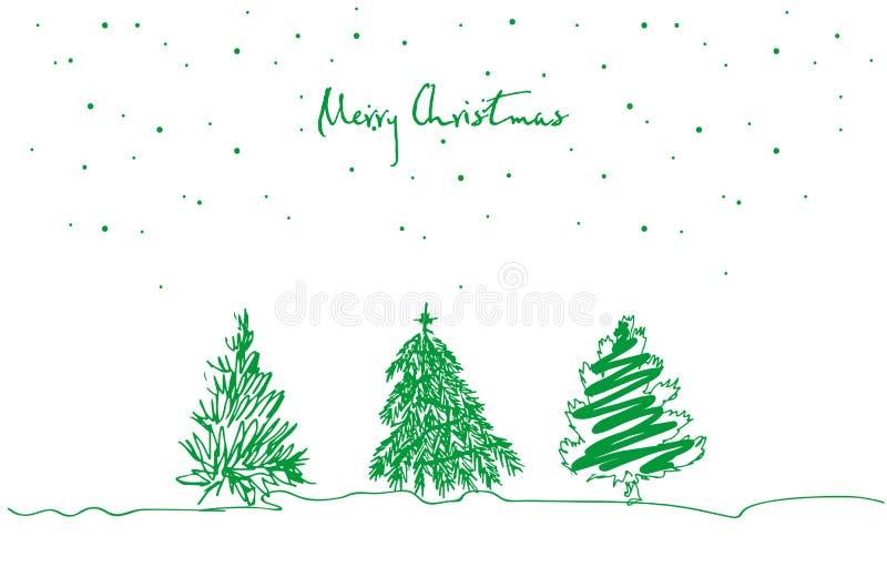 Reeks van hand getrokken Kerstboom op witte achtergrond De vrolijke kaart van de Kerstmisgroet stock illustratie