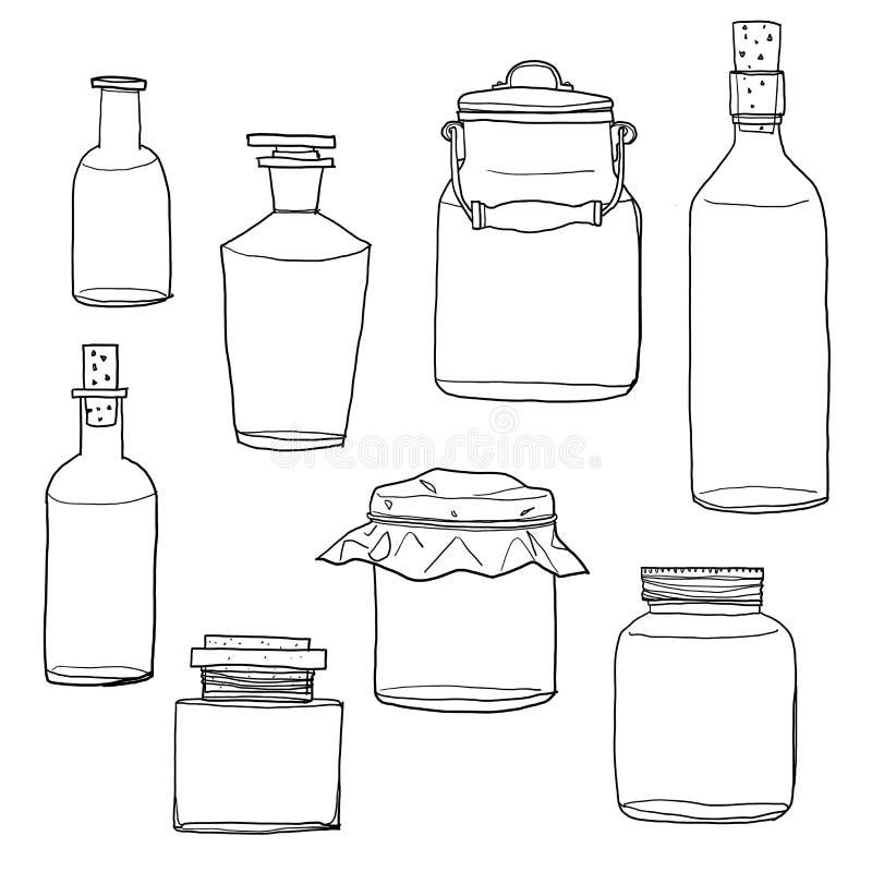 Reeks van hand getrokken lege kruiken en flessen uitstekende leuke lijnkunst royalty-vrije illustratie