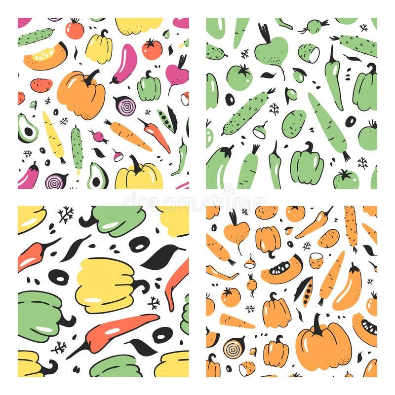 Reeks van hand getrokken naadloos patroon met groente Vector artistiek tekeningsvoedsel De pompoen van de de zomerillustratie, aa stock illustratie