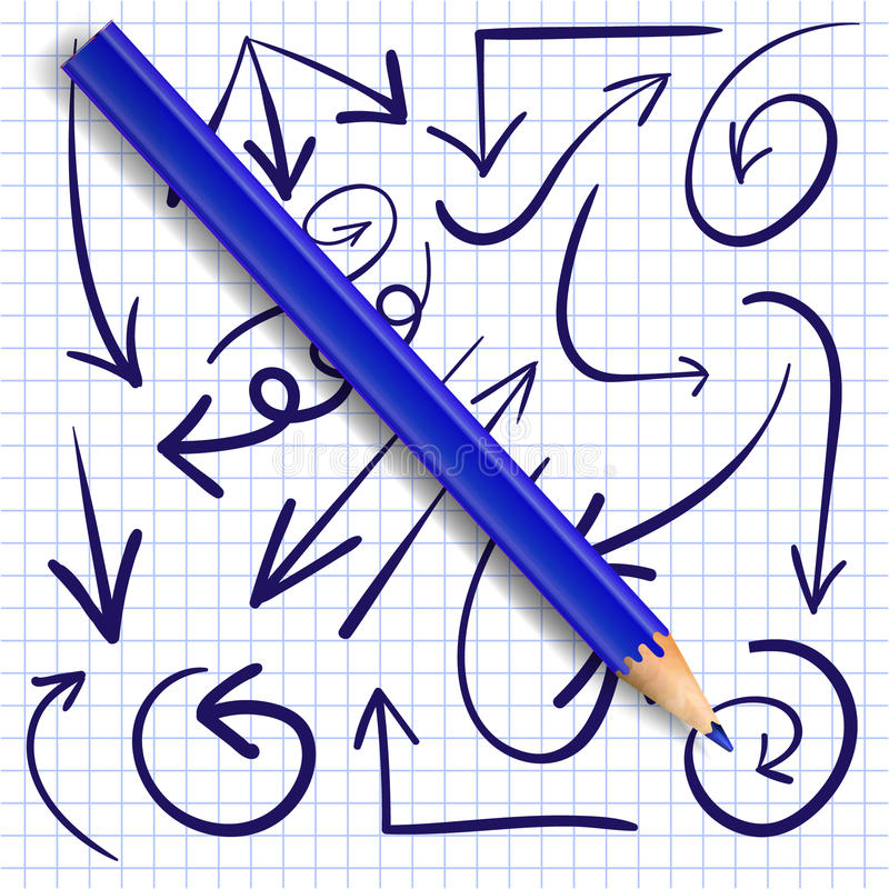 Reeks van hand getrokken pijlen en realistisch blauw potlood Vector Donkerblauwe pijlen vector illustratie