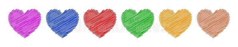 Reeks van hand getrokken rood hart - vector royalty-vrije illustratie