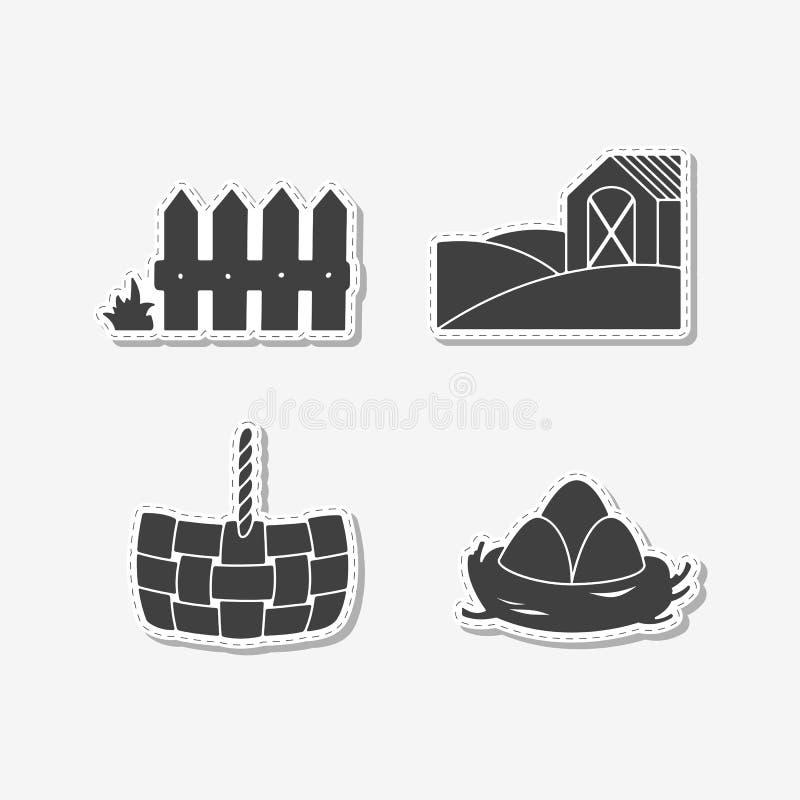 Reeks van hand getrokken stickers met houten omheining, stromand, eieren in nest en landbouwbedrijfgebied met huis vector illustratie