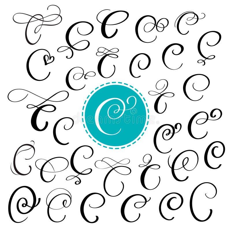 Reeks van Hand getrokken vectorkalligrafiebrief C Manuscriptdoopvont Geïsoleerde die brieven met inkt worden geschreven Met de ha royalty-vrije illustratie