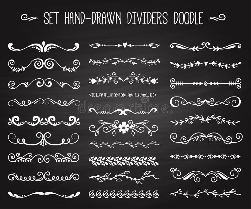 Reeks van hand getrokken witte van de elementen decoratieve bloemenverdelers van het krabbelontwerp de pijlen en de wervelingenta royalty-vrije illustratie