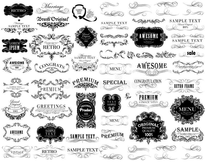 Reeks van hand-trekkend kalligrafisch bloemenontwerp royalty-vrije illustratie