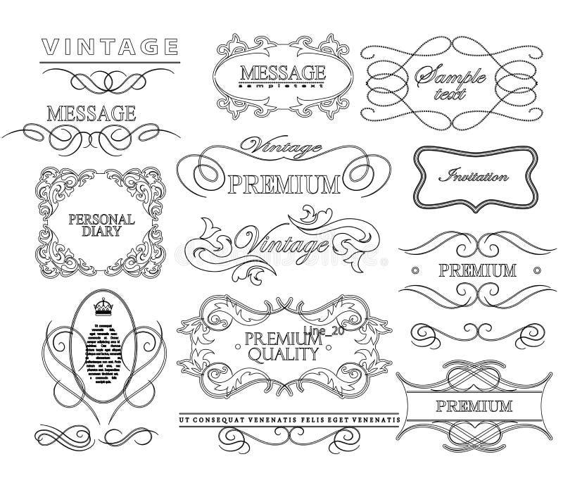 Reeks van hand-trekkend kalligrafisch bloemenontwerp vector illustratie