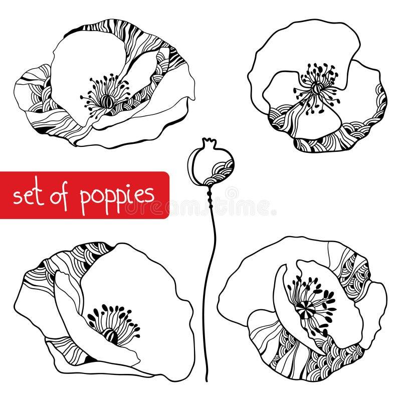 Reeks van hand-trekkende papavers stock illustratie