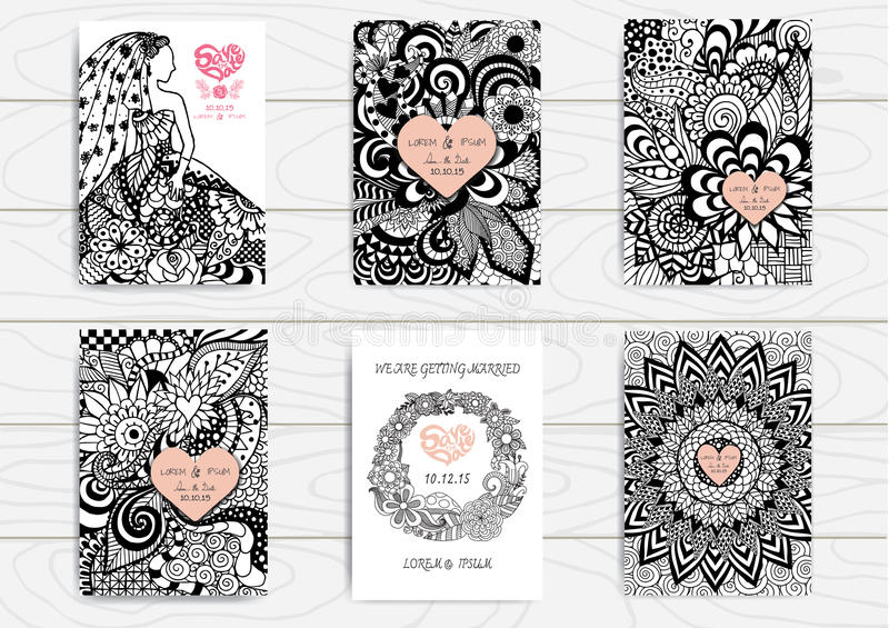 Reeks van hand zentangle op A4 malplaatje voor druk wordt getrokken die Het ontwerpmalplaatje van de huwelijkskaart stock illustratie