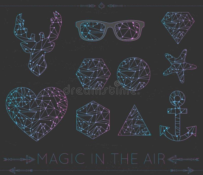 Reeks van hart geometrische kleur hipster shapesd4 stock illustratie