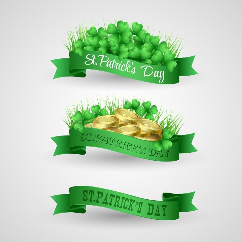 Reeks van Heilige Patrick Day Banner met klaver en stock illustratie