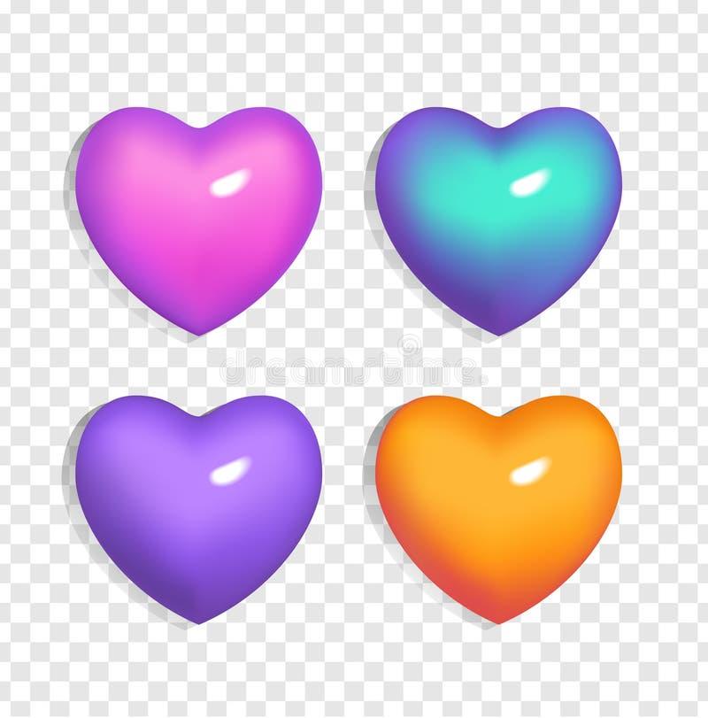 Reeks van heldere 3d harten blauwe, purpere, oranje en roze kleur op transparante achtergrond Gradiënttekens van Valentine's-da stock illustratie