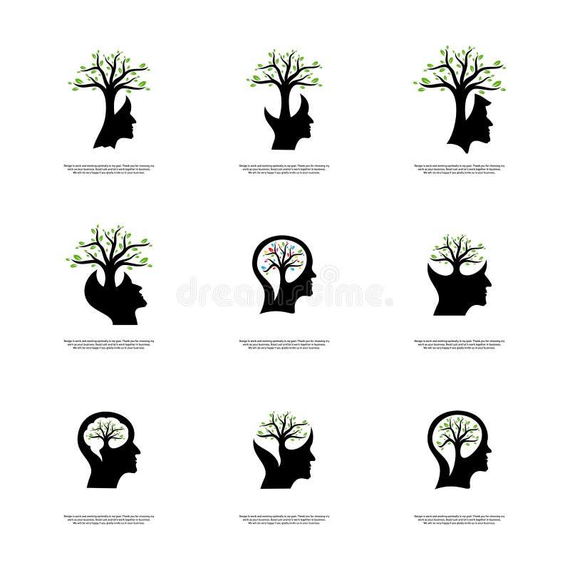 Reeks van Hersenen met Boom Logo Design Concept, Mensenhoofd met Boomembleem - Vectorillustratie - Vector stock illustratie