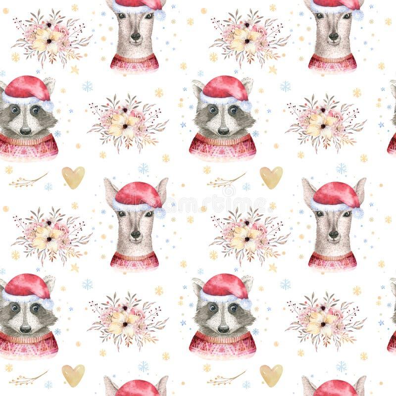 Reeks van herten van het Kerstmis de Bos Leuke bosbeeldverhaal en leuk wasbeer dierlijk karakter De winterreeks van nieuw jaar bl stock foto's