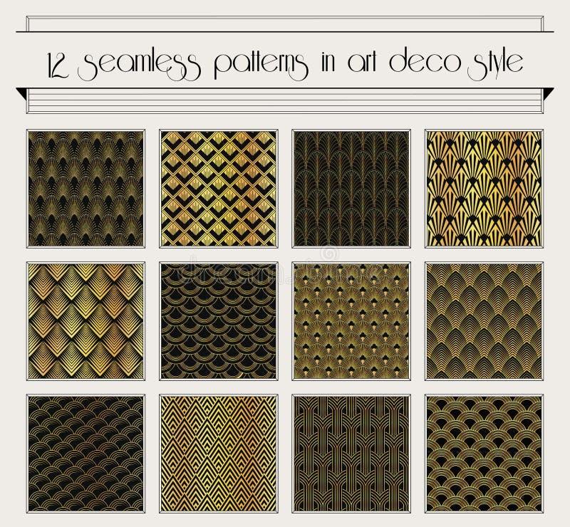 Reeks van het art deco de naadloze patroon stock illustratie
