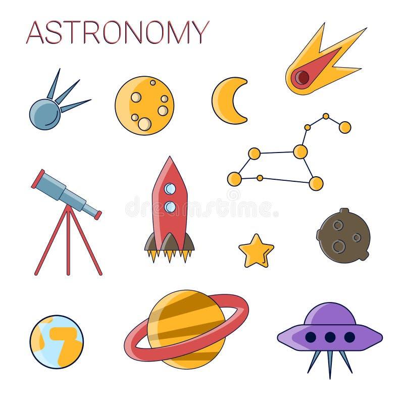 Reeks van het astronomie de eenvoudige vlakke pictogram Reeks de Vlakke Vectorastronomie van de Lijnslag en Ruimtepictogrammen Ma vector illustratie