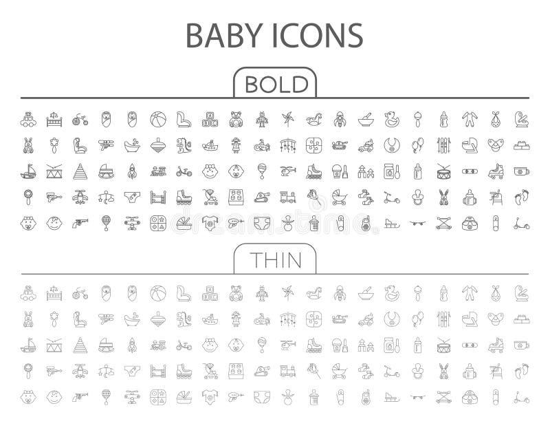 Reeks van het baby de vlakke vectorpictogram vector illustratie