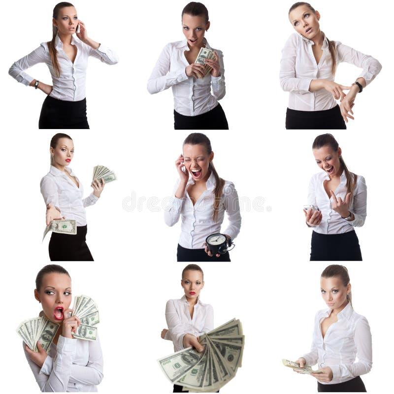 Reeks van het bedrijfsvrouw stellen met emotioneel gezicht royalty-vrije stock fotografie