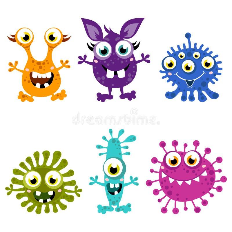 Reeks van het beeldverhaal de Leuke Monster Kleurrijke monsters met verschillende emoties royalty-vrije illustratie