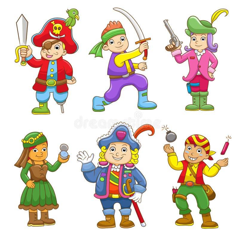 Reeks van het beeldverhaal van het piraatkind stock illustratie