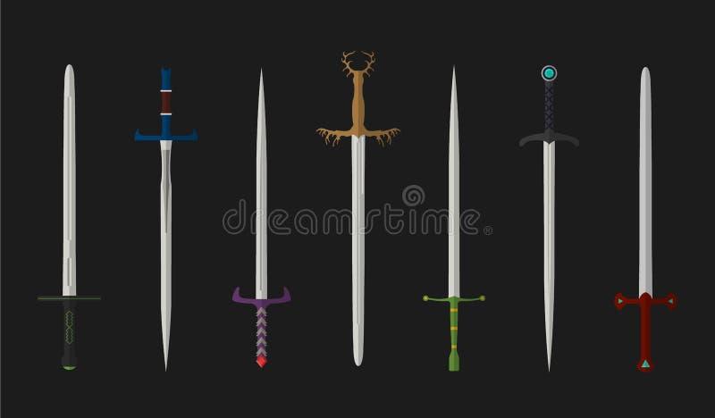 Reeks van het bestrijden van ridderzwaarden Zwaarden van de metaal de Europese rechte ridder Illustratie van koningenwapens Midde royalty-vrije illustratie