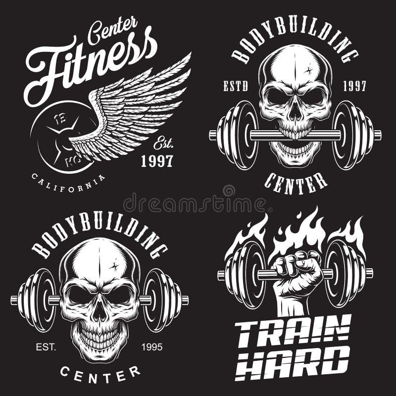 Reeks van het bodybuilding van emblemen stock illustratie