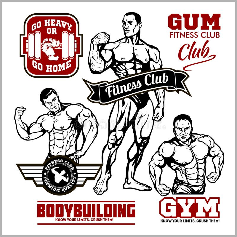 Reeks van het bodybuilding van emblemen met sportmateriaal Vector illustratie stock illustratie