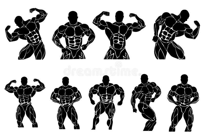 Reeks van het bodybuilding van pictogrammen, vectorillustratie royalty-vrije illustratie