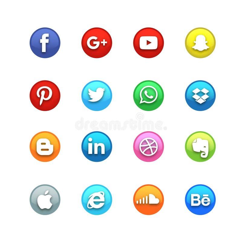 Reeks van het cirkel de Glanzende Sociale Pictogram stock illustratie