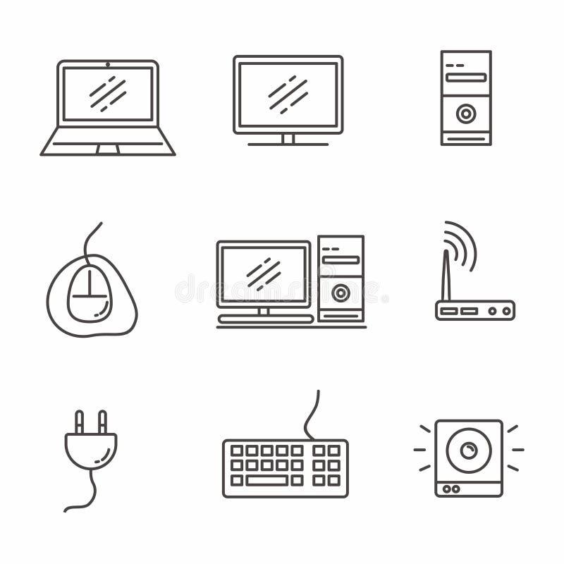 Reeks van het computer verwante ontwerp van de pictogramlijn, computer vectorillustratie vector illustratie