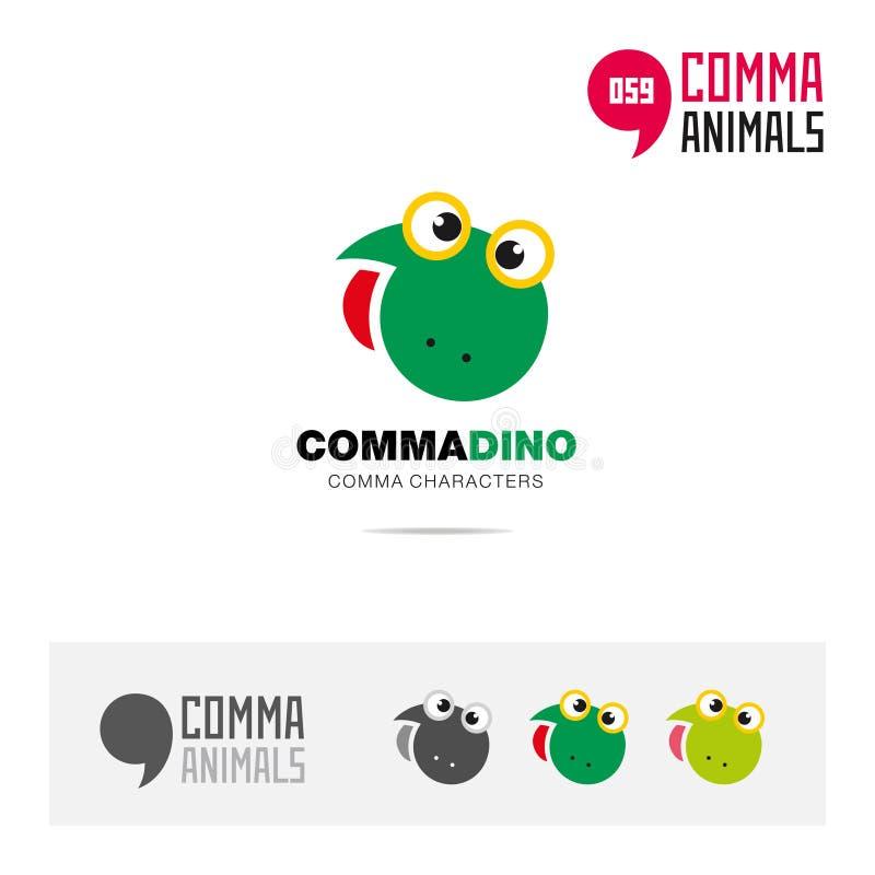Reeks van het het conceptenpictogram van Dino de dierlijke en modern die het embleemmalplaatje van de merkidentiteit en app symbo stock illustratie