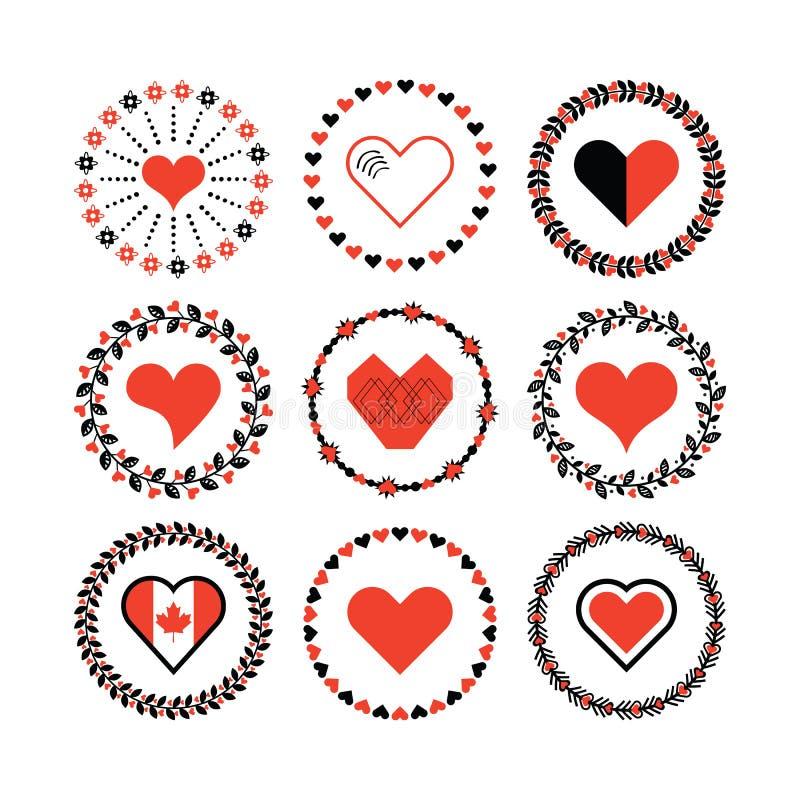 Reeks van het de hartensymbool van de cirkelgrens decoratieve de patronenemblemen en ontwerpelementen stock illustratie