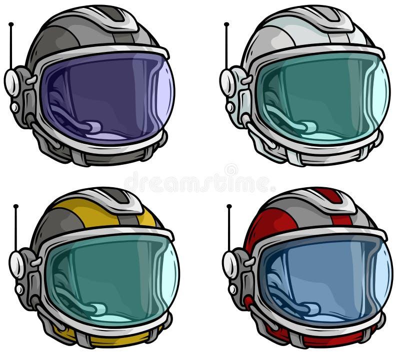 Reeks van het de helm vectorpictogram van de beeldverhaalastronaut de ruimte royalty-vrije illustratie