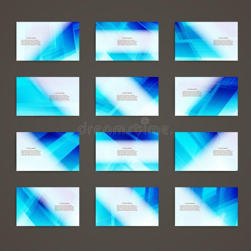 Reeks van van het de identiteitsmalplaatje van het adreskaartjethema collectieve het ontwerp geometrische abstracte blauwe kleur vector illustratie