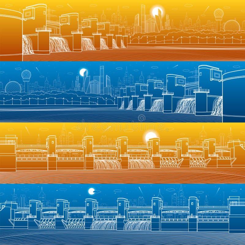 Reeks van het de illustratiepanorama van de stadsinfrastructuur de industriële Hydroelektrische centrale Rivierdam Energiepost Wa stock illustratie