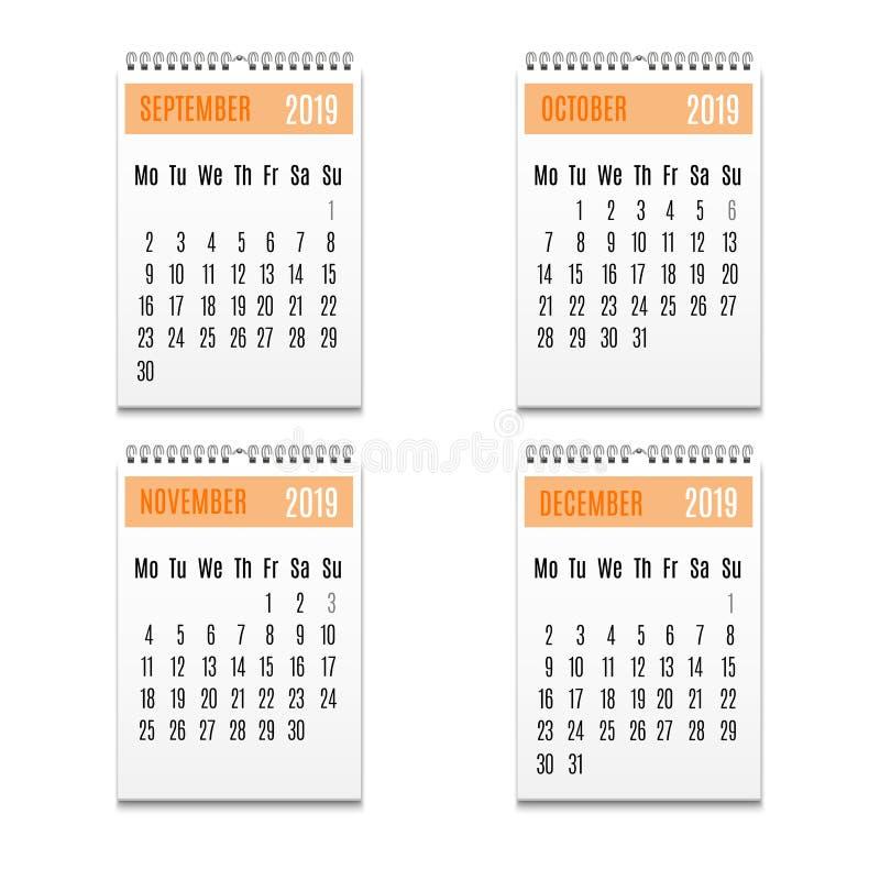 Reeks van het de Kalenderpictogram van de beeldverhaalkleur de Spiraalvormige Vector vector illustratie