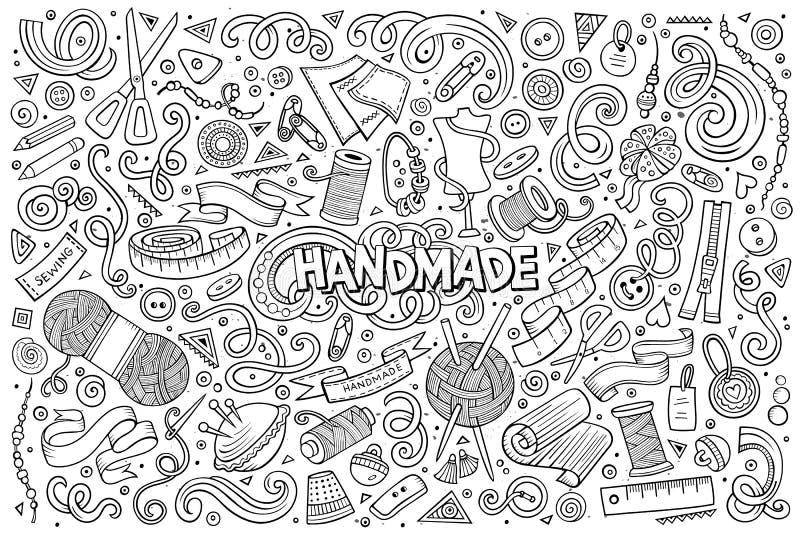 Reeks van het de krabbelbeeldverhaal van de lijnkunst de vectorhand getrokken van met de hand gemaakt voorwerp stock illustratie