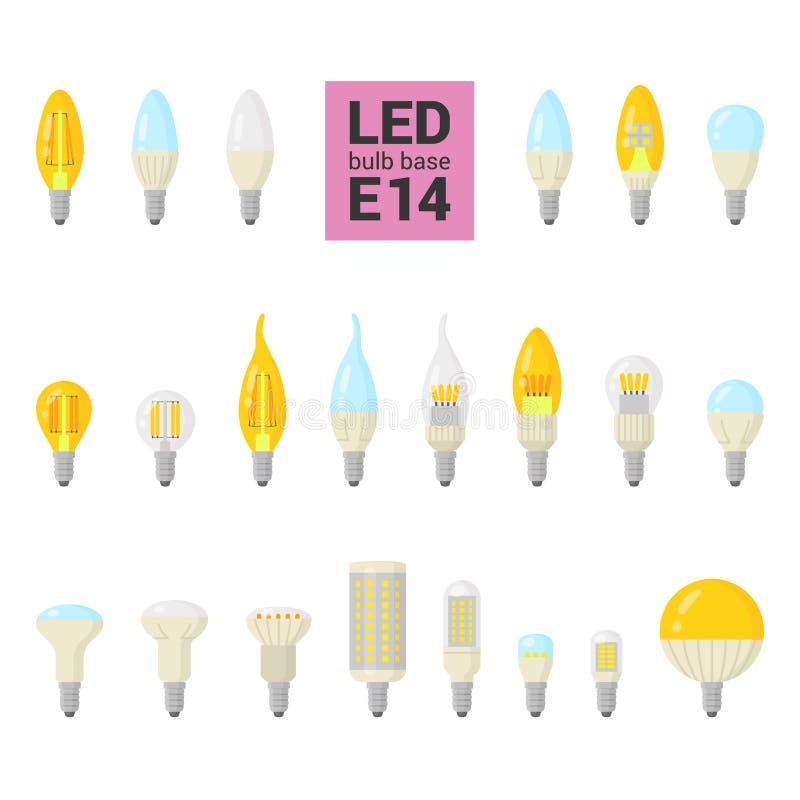 Reeks van het de LEIDENE de lichte bollen vector kleurrijke pictogram van E14 royalty-vrije illustratie