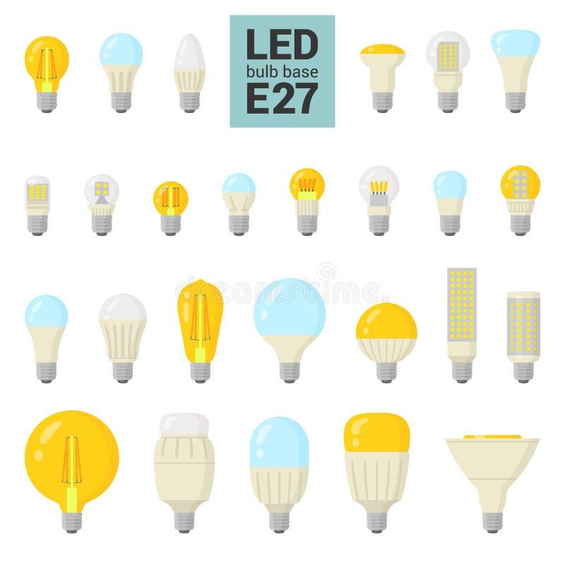 Reeks van het de LEIDENE de lichte bollen vector kleurrijke pictogram van E27 stock illustratie